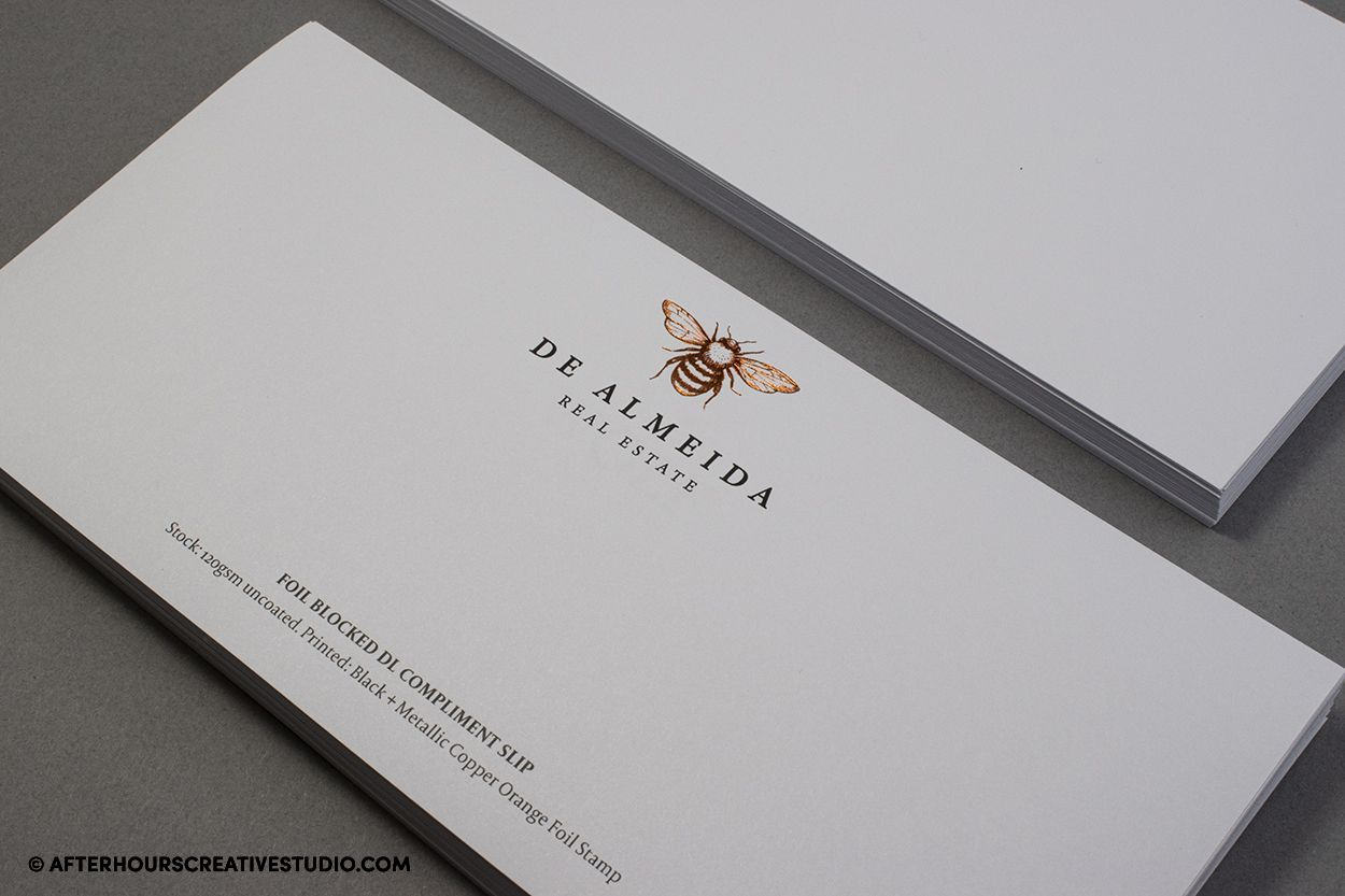 Foil Blocked DL Compliment Slips on 120gsm, with single-sided printing.