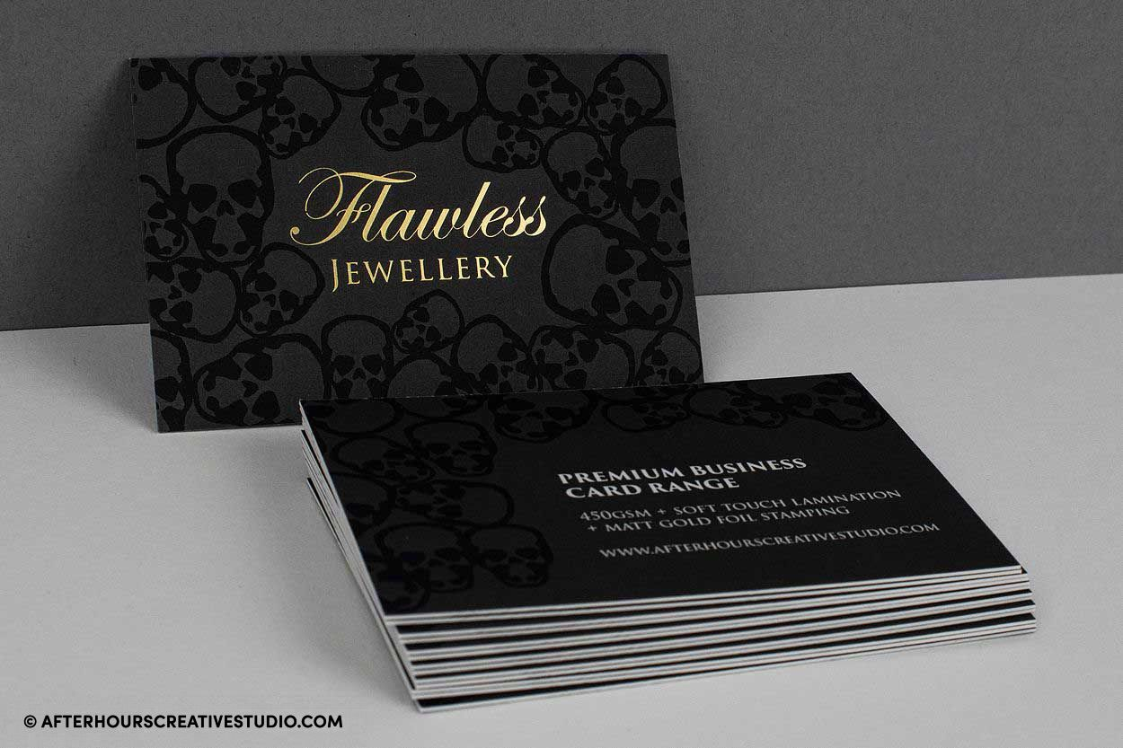 Velvet Laminated business cards with full-colour printing and metallic gold foil blocking.