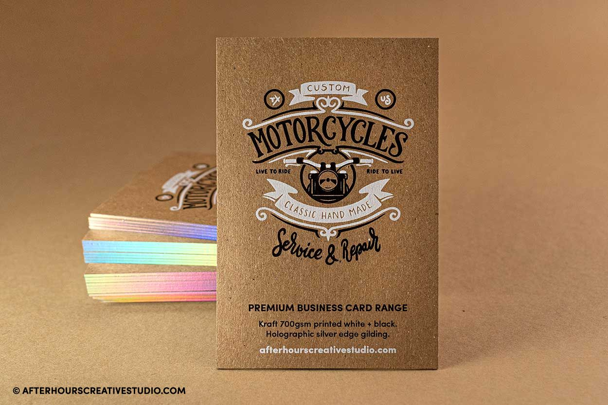 white ink kraft 700gsm business cards with holographic edge gilding