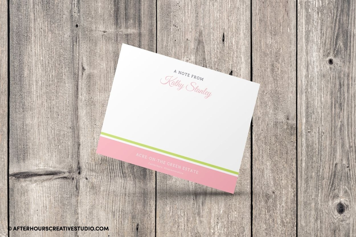 Silk note cards on quality 350gsm stock, with full colour printing.