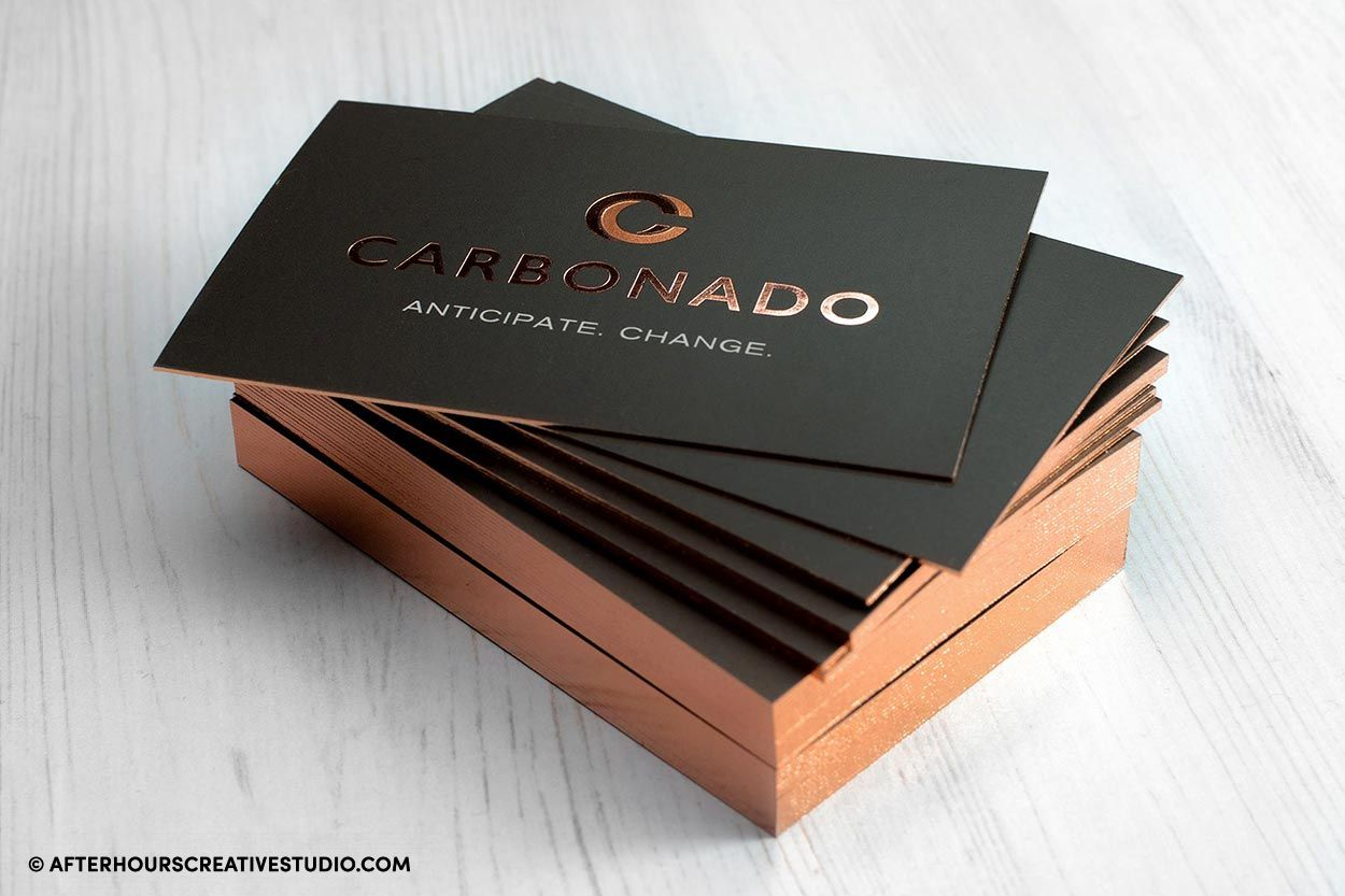 Rose gold edge gilded business cards