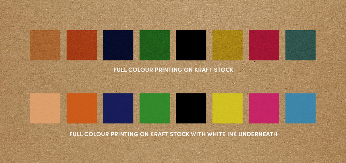 printing colour with white on kraft card stock
