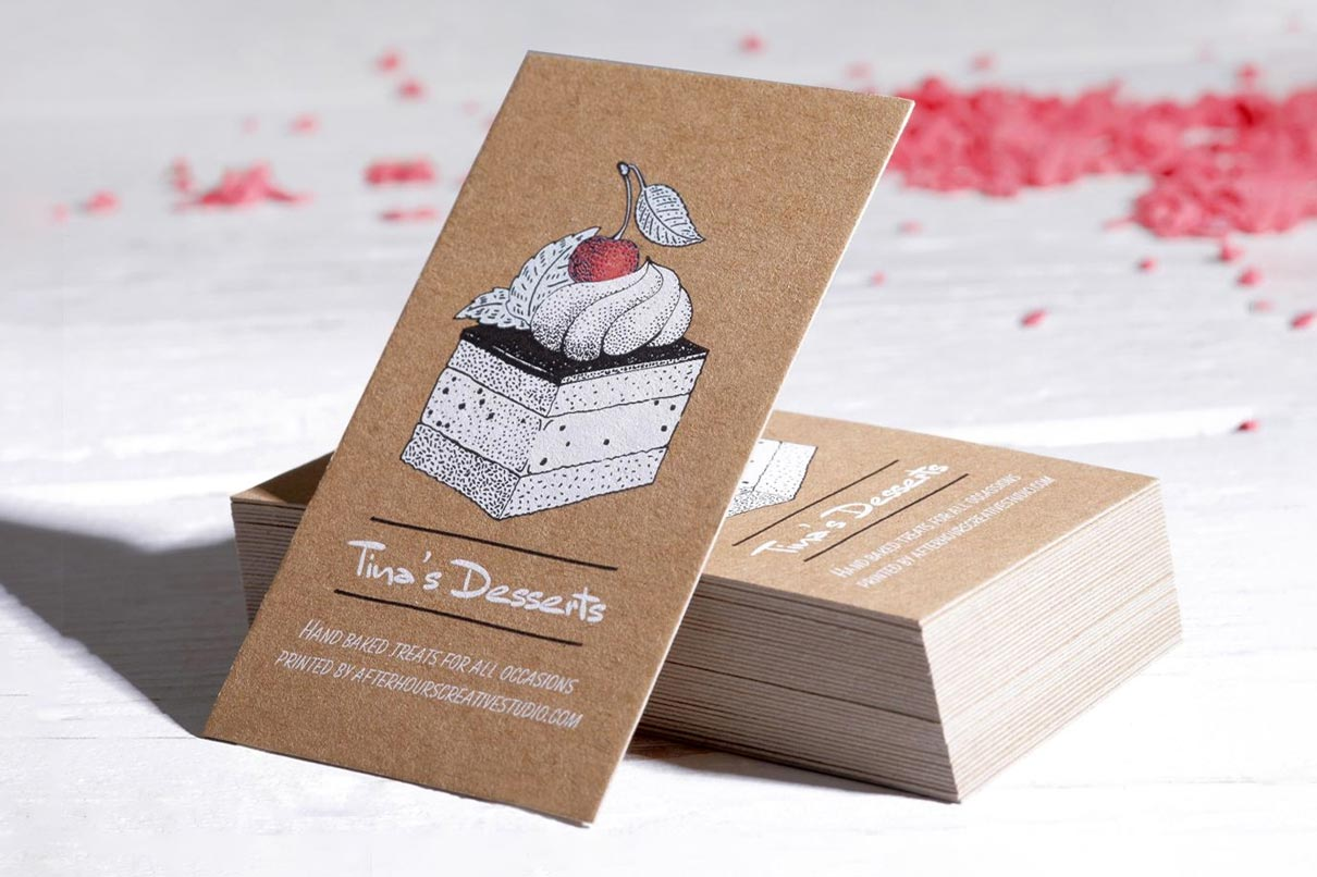 kraft white ink business cards