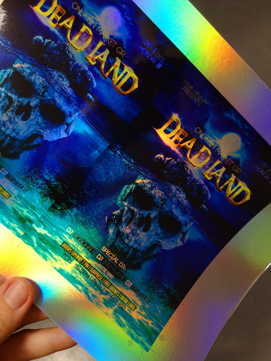 printing on holographic rainbow card
