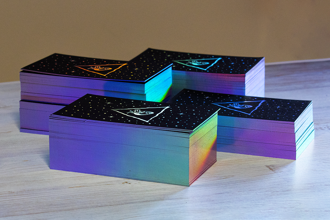 holographic rainbow edge gilded business cards