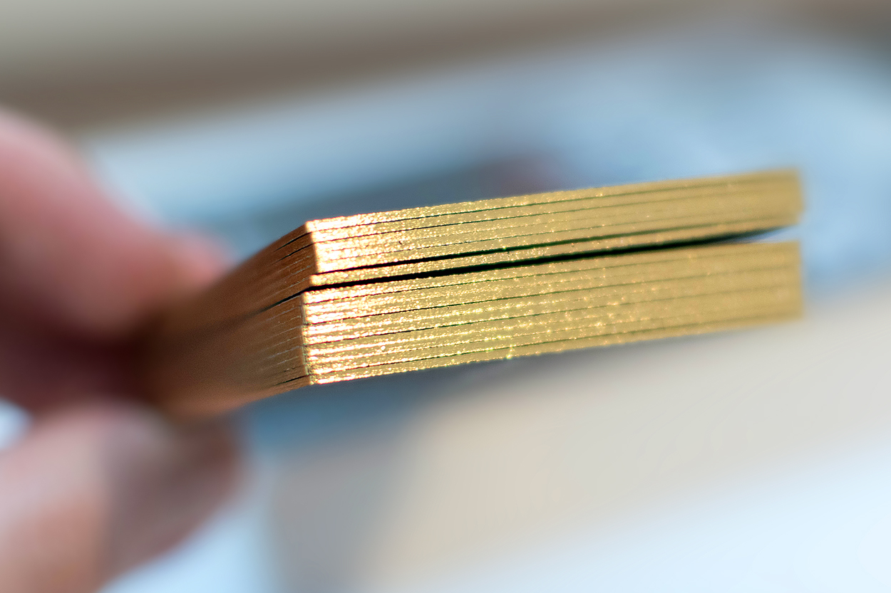 Gold gilt edge business cards