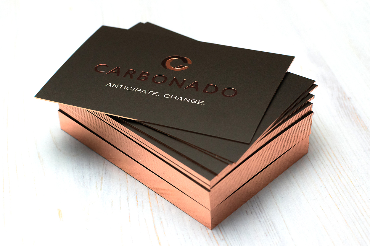 Rose gold edge gilded business card