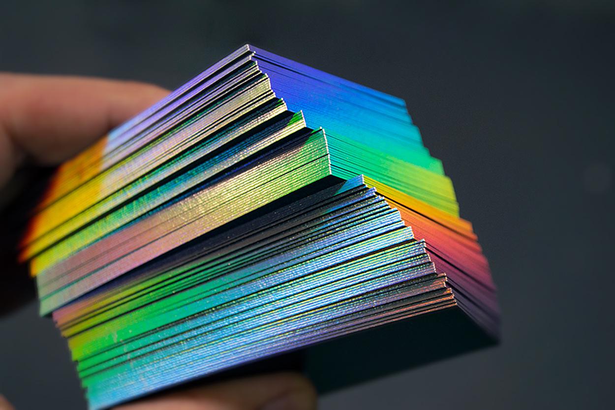 rainbow edge gilding on business cards